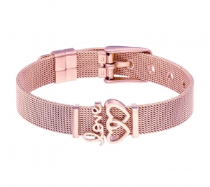 Bransoletka stal chirurgiczna 316L mesh charms rose gold serca
